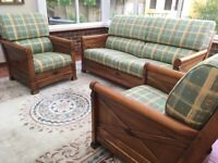 Glorious polished wooden SOFA and TWO ARMCHAIRS - French import – hardly used.