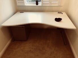 Desk, 3 draw pedestal, office chair