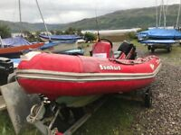 2002 4.5m Red Bombard RIB. 40hp 2 Stroke Mercury Out-board and Trailer