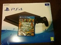 New sealed ps4 slim 1tb with gta v