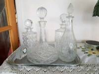 Assortment of glass decanters