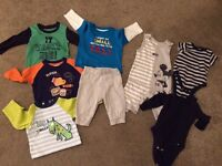Baby boy bundle 3-6 months 4 long sleeve t shirts, 1 joggers, mickey mouse set, excellent condition