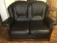 2 SEATER BLACK ITALIAN LEATHER SOFA