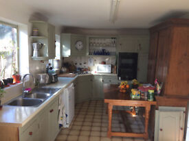 Solid wood F&B-painted kitchen cupboard units, double sink, mixer tap, integrated double oven/grill