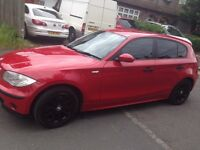 Red BMW 1 series 11 months mot recently serviced 9 months warranty 2 keys Black wholly wheel
