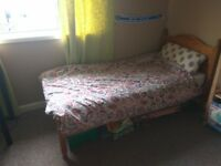 Single pine bed with mattress