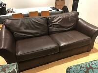 Leather sofa and matching double seat and footstool in fabric
