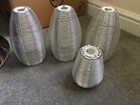 4 x steel wire hanging light shades or standing lampshades - as new condition