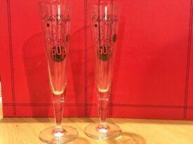 2x Decorative champagne glasses