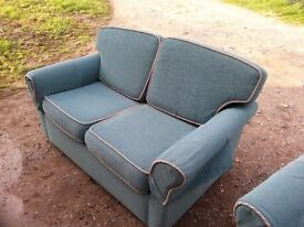 knightsbridge Two x Two Seater Sofas with single armchair in Green upholstery