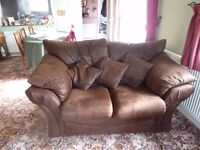 4 Seater & 2 Seater sofas + pouffe in Faux brown leather
