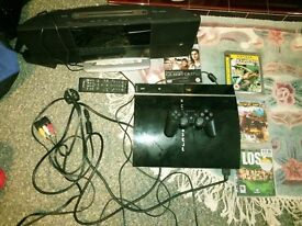PS3 PlayStation 3 with remote and games + a stereo