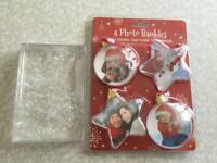 Pack of 4 photo Christmas baubles and snow/glitter photo frame