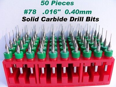 50 Pieces 78 0.40mm .016 Solid Carbide Drill Bits