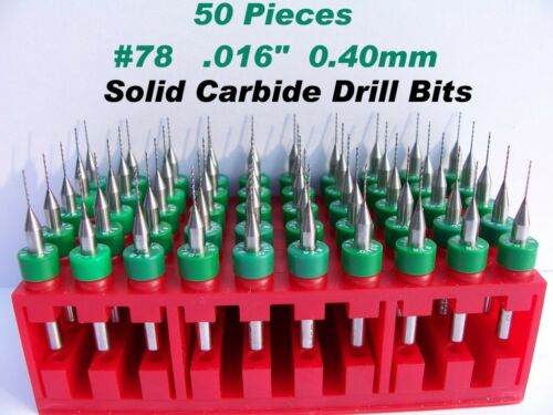 "50 Pieces #78  0.40mm .016""  Solid Carbide Drill Bits -LU"
