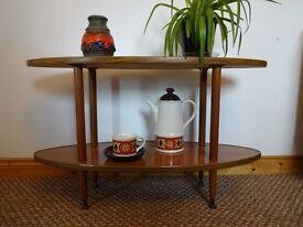 Vintage Retro Mid Century 2 x Tier Teak Veneer Side Table
