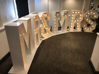 Light up numbers and letters for hire