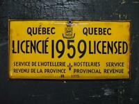 Cherche plaque d'Hotellerie hostelries license Quebec