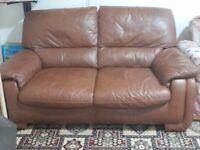 Brown leather 2 seater sofa x 2