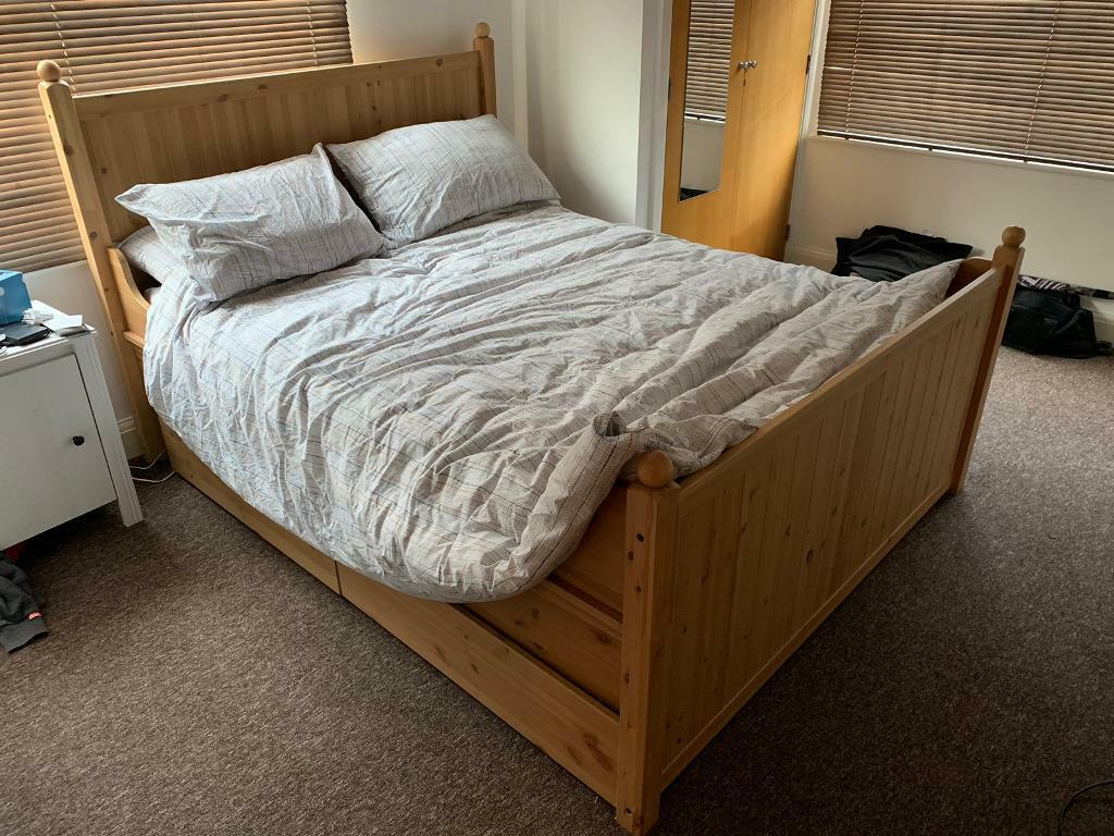 Ikea Hurdal King Size Real Wood Bed Frame Only 4 Storage Drawers In Warwick Warwickshire Gumtree