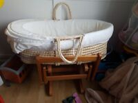 GREAT CONDITION MOTHERCARE ROCKING / GLIDING STAND MOSES BASKET BABY COT BED, MATTRESS & COVER!