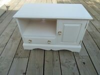 Solid Pine Shabby Chic TV Cabinet with Cupboard and Drawer and Ornate Handles