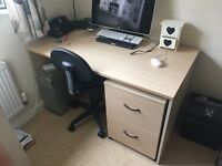 Birch veneer office desk with 2 drawer cabinet, cupboard and chair.