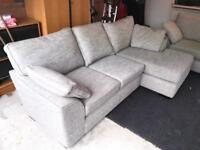 NEXT Grey Corner Chaise Right Sofa and Snuggle Chair