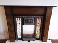 Lovely large fireplace, fireback, fire and hearth