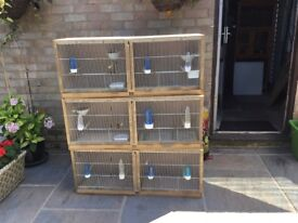 Three double .breeding cages with drinks bottles and feeders