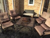 4 garden chairs and table with fire pit for sale