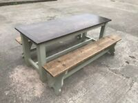 Refectory style Dining table and 2 benches