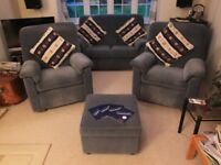 Blue Fabric Parker Knoll 2 Seater Sofa, 2 Matching Recliner Armchairs, 1 Matching Storage Footstool