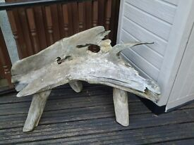 Solid natural garden bench just needs oil or stain 3 solid legs £40. Ono