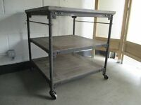 VINTAGE INDUSTRIAL STEAMPUNK RUSTIC WOOD AND STEEL THREE TIER KITCHEN TROLLEY TABLE FREE DELIVERY