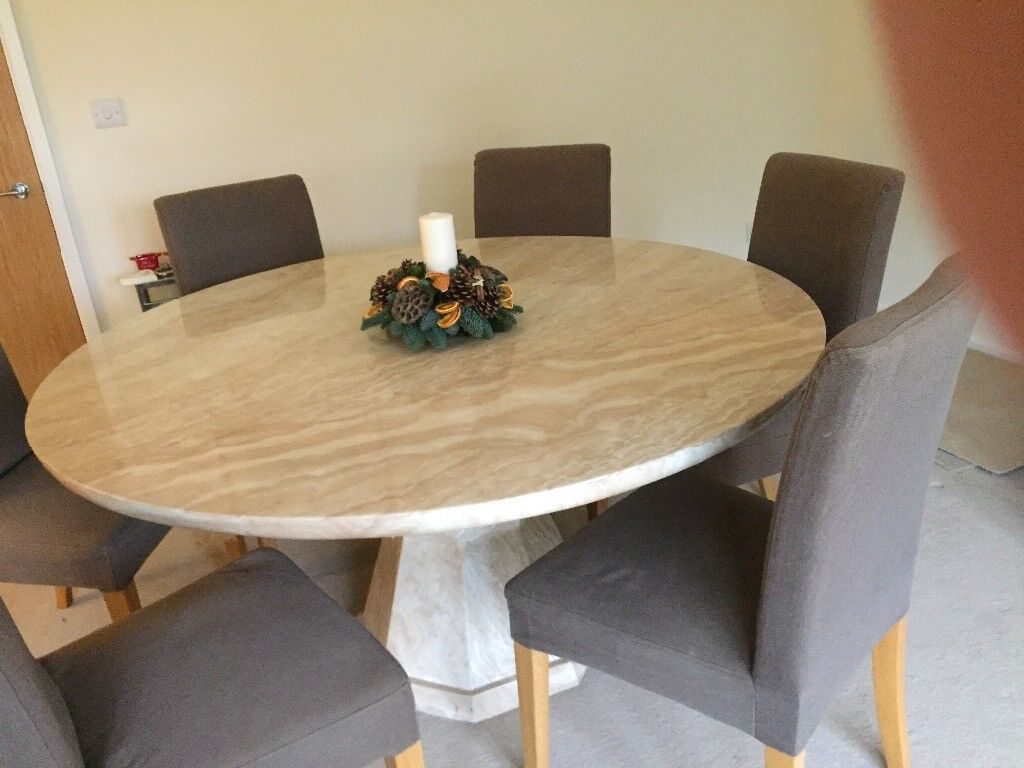 Large marble effect dining table