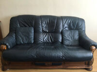 4 Piece Leather Sofa Suite, with coffee table
