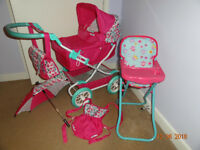 Mamas and Papas Graziella Doll Pram and Unbranded High Chair