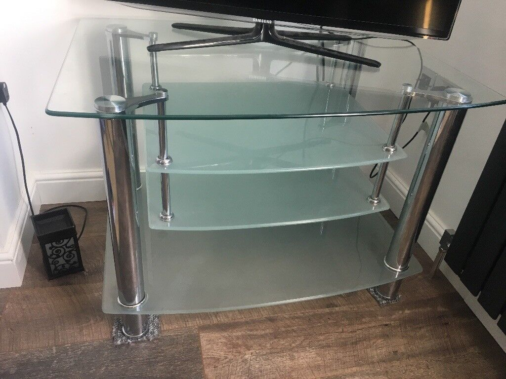 Large Glass and Chrome TV stand. 2 Tier + 2 shelves | in Sheffield ...