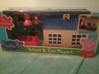 Peppa Pig School and Car Playset new
