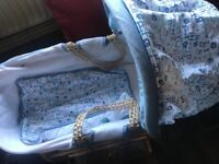 Blue alphabet Moses basket with stand