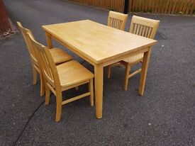 Solid Rubberwood Table & 4 Chairs FREE DELIVERY 442