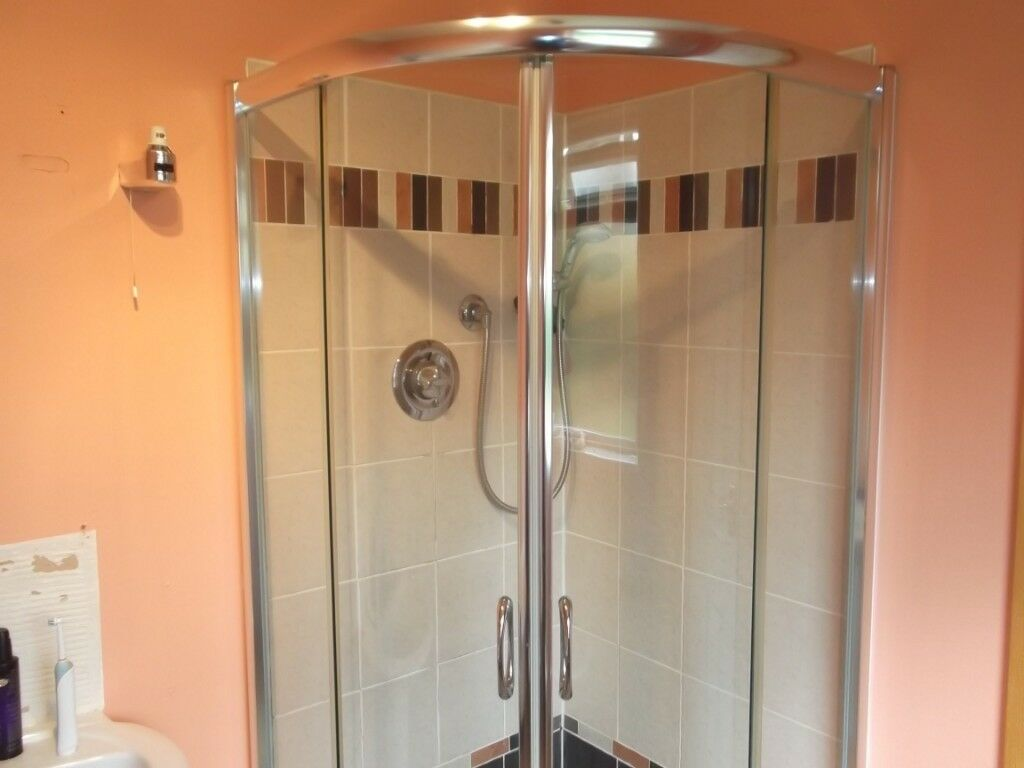 Shower enclosure complete with tray, trap, & shower mixer taps | in ...
