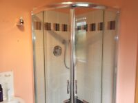 Shower enclosure complete with tray, trap, & shower mixer taps