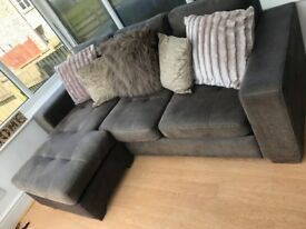 Brown adjustable corner sofa