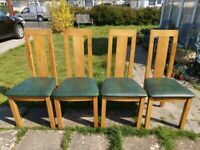 4 x Modern Furniture Solid Wood dining Chairs with Leather Seat