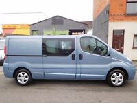 Finance me from £51 a week Renault Trafic LWB sport 6 seat factory fitted crew cab van NO VAT (21)
