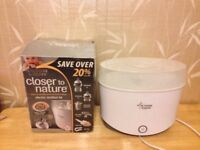 TOMMEE TIPPEE CLOSER TO NATURE ELECTRIC BOTTLE STEAM STERILISER WITH INSTRUCTION AND BOX