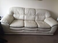 Cream leather sofa immaculate condition