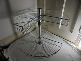 Maple Industries Chrome `Lazy Susan` 2 Shelf 270degree rotating Kitchen unit shelving